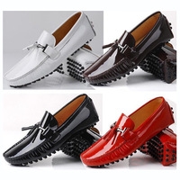 US 6-10 NEW Leather Men red tassel slip on Casual diving Shoes loafer dress shoe Patent Leather