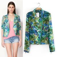 Free Shipping 2013 female autumn fashion tropical bersh long-sleeve jacket short women's design short outerwear