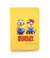 High Quality Cartoon Despicable Me Minions Flip Magnetic Stand Leather Book Case For Apple Ipad Mini 2 3 4 Smart Cover Protector