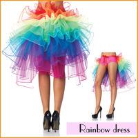 Fashion Party Costume Sexy Lingerie Rainbow Dress Organza Garment Ballet Bubble Skirt Colorful Dance Dress for Ladies