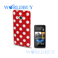 High Quality Polka Dot Style TPU Case Cover For HTC One M7 Free Shipping DHL UPS FEDEX EMS HKPAM CPAM XSJBD-4