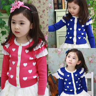 Free shipping 2013 autumn heart girls clothing baby child long-sleeve cardigan wt-1085  1D10C