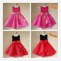 Hot Sale Beautiful Girl's Formal Dress Sequins yarn with big Bowknow Flower Girls Dresses Evening dress 6 pcs lot XJ1006