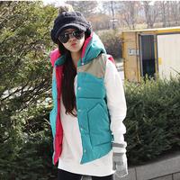 winter down vest women cotton detachable cap vest outerwear fashion vest women's outerwear SC9011