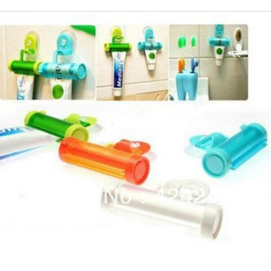 5Pcs New Plastic Rolling Squeezer Toothpaste Dispenser Tube Partner Holder Sucker Hanging #32513(China (Mainland))