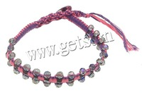 Free shipping!!!Friendship Bracelet,Supplies For Jewelry, Crystal, with Leather & Cotton Cord & Brass, woven, faceted, 4x4.5mm