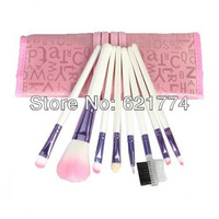 8pcs Pink Eyeshadow Makeup Brushes Cosmetic Brush Set with Case Gift Free Shipping Wholesale
