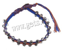 Free shipping!!!Friendship Bracelet,Vintage, Crystal, with Leather & Cotton Cord & Brass, woven, faceted, 4x4.5mm, 11mm