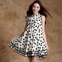 Maternity clothing summer fashion maternity dress sleeveless polka dot chiffon one-piece dress long  loose  skirt Free shipping