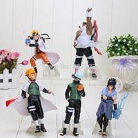Naruto 1set 10-15cm Naruto Shippuden Sasuke Uzumaki Kakashi doll dolls full 5pcs premium gifts (1set=5pcs) retail