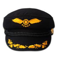 Rivet navy captain cap black embroidered stewardess cap uniform hat maozi