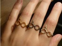 Free Shipping Hot Sale Fashion Harry Potter lightning scar Glasses Adjustable Ring