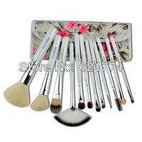 12pcs 2013 New Hot Selling Professional Makeup Brush Set Cosmetic Brushes with Azalea Printing Case Gift Free Shipping