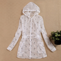Duomaomao vintage small sun protection anchor pattern clothing single breasted slim waist hooded long-sleeve cardigan sun