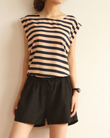 2013 spring and summer all-match stripe zipper slim waist casual one piece shorts