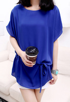 2013 summer women's brief elegant slim waist chiffon one-piece dress batwing sleeve chiffon top