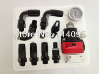 Free Shipping ! Fuel Pressure Regulator with hose line kits&Fittings&Gauge Red