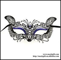 Free Shipping 48pcs/lot Halloween Black Theme Filigree Metal Masuqerade Mask With Sparkly Blue Crystals ME002-BLBK