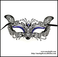 Free Shipping 48pcs/lot Halloween Black Theme Filigree Metal Masuqerade Mask With Sparkly Blue Crystals ME002-BLBK