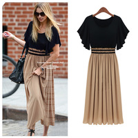 New Fashion 2014 Bohemian Women's High Waist Ruffle Sleeve Sexy Vintage Long Chiffon Maxi Dress On sale Plus Size Wholesale