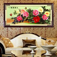 3d print cross stitch kit chiban peony blooping flowers rich 150*72CM
