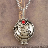 Vampire Diaries Elena's Necklace Pendant Chain Silver Plated with Red Crystal TN013 Magi Jewelry Z8Z