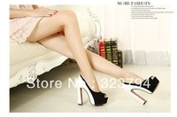 Lady Sexy OL Dress Pumps Suede And Leather Colorant Match Lady Hollow Out Super High Thick Heel Shoes Women's Pumps