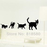Free Shipping Home Decor Large Lovely Cats Follow Me Wall Art Stickers Removable Wall Decals 140 x 50cm