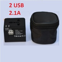 Gift Bag! 2 USB ports Worldwide Universal Travel Adapter Charger US EU UK AU Plug 5V,  2.1A USB charger, free shipping