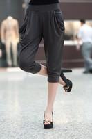 2014 hot Plus size female trousers oversized clothes xxxl plus size clothing high waist elastic capris women pants