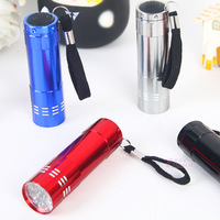 Glare flashlight 9led portable small lamp aluminum alloy flashlight waterproof mini flashlight  Free shipping