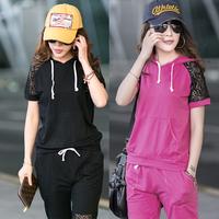 New 2013 plus size plus size plus size women xxxxl mm summer lace sleeve with a hood sports set pants
