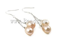 Free shipping!!!Freshwater Pearl Earrings,high fashion, Cultured Freshwater Pearl, brass hook, pink, 9-10mm, 50mm, Sold By Pair