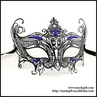 Halloween Design Venetian Black Metal Masks With Royal Blue Crystals 48pcs/lot Free Shipping MD002-BLBK