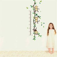 Free Shipping ZooYoo Original Playing Monkey Tree Height Wall Art Stickers Kids Nursery Removable Decor Decals zy1208 Home Mural