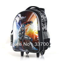Wholesale free shipping new students may not removable trolley schoolbag backpack child queen robot models
