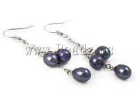 Free shipping!!!Freshwater Pearl Earrings,2013 Fashion, Cultured Freshwater Pearl, brass hook, dark purple, 6-7mm, 56mm