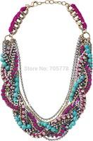 2014 Fashion Luxury Jewelry for Women Girls Multi-Line Chains Bamboleo Statement necklace Retail $228