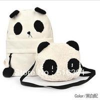Panda cartoon backpack two panda bags set cute school bag anime canvas  bags free shipping