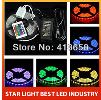 Free Shipping 5050 RGB 300/60 LED Strip light Non waterproof +24Key Controller+5A 220V to 12V adaptor power + Blister Packing
