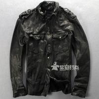 Fashion Men Slim  Leather Jacket  Fashion Sheepskin Men's Clothing Genuine Leather Clothing