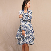 [LYNETTE'S CHINOISERIE - BE.DIFF] 2013 autumn original design national trend slim blue and white linen long-sleeve dress
