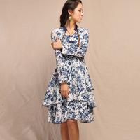 [LYNETTE'S CHINOISERIE - BE.DIFF] 2014 autumn original design national trend slim blue and white linen long-sleeve dress