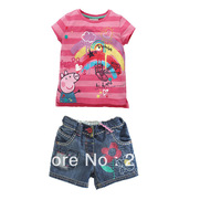 freeshipping!Peppa Pig Girl's Summer denim suit Children rainbow t-shirt+jeans pants girl outfits fashion clothing 6sets/lot