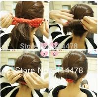 Free Shipping!2014 New Small Hair holder Bun Clip Maker Former Dots Twist Hair Salon Tool Magic styling Dish hair stick
