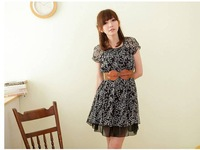 2013 New Free shipping Stylish Round Collar  Leaves Printed Short Sleeve Dress Black O12091413-1