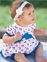 Cotta baby girl dress with blue bowknot Baby dress with many Cherries Doll dress for Lovely girls On sale
