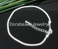 Free Shipping! 4 SP Snake Chain Bracelets Fit European Charm Bead 18cm (B05130)