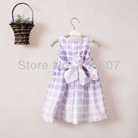 1 pcs summer lavnder girl's dress kids' clothing wedding party princess dress tutu satin dress wholesale and retail hot