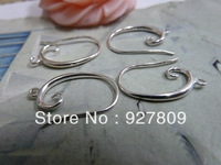 Free Delivery Vintage handmade diy material vintage thick silver ear hook  14*20mm 8pcs/lot  earring findings